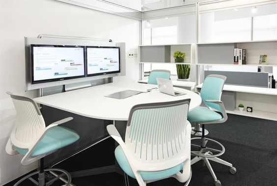 telepresence | Steelcase coloured chairs add vibrancy to an office with  simple/dull furniture and colours: