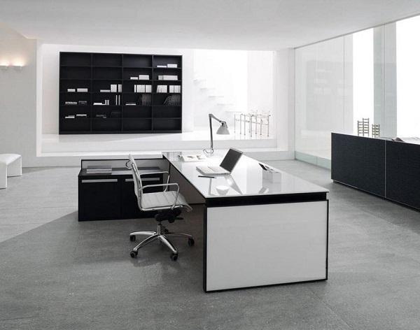 Mẫu thiết kế bàn làm việc hiện đại kết hợp với kính cường lực